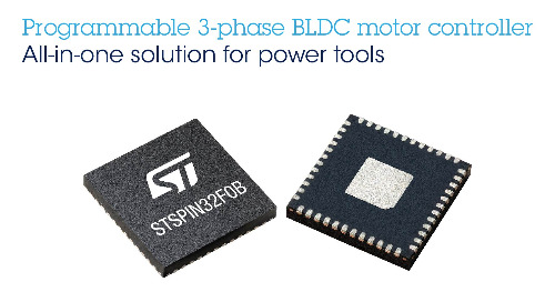 STMicro's STSPIN32 Single-Shunt BLDC Motor Controller Serves Battery-Operated Tools