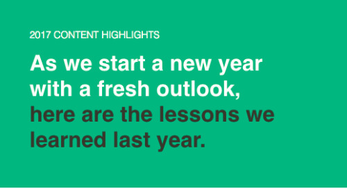 Top Lessons From 2017
