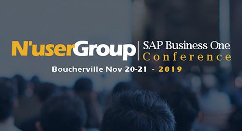 20-21 nov 2019: conférence N'Ware du groupe d'utilisateurs SAP Business One @ Boucherville, Québec