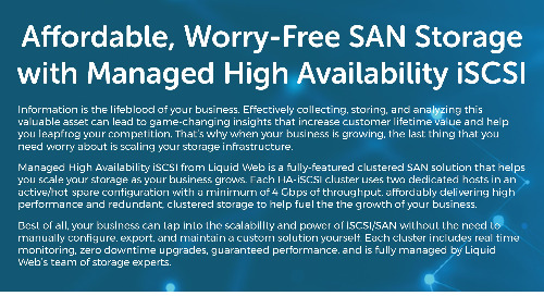 SAN Storage with Managed High Availability iSCSI