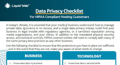 Data Privacy Checklist for HIPAA Compliant Hosting