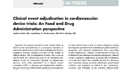 Clinical event adjudication in cardiovascular device trials: An Food and Drug Administration perspective