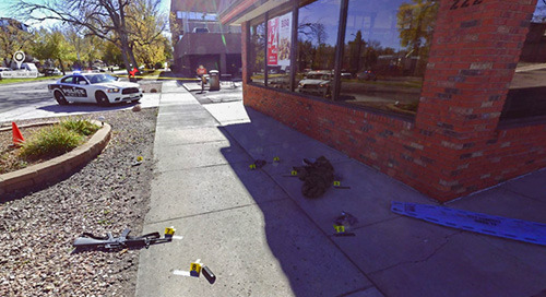 El Departamento de Policía de Colorado Springs utiliza un escáner láser para documentar un tiroteo masivo