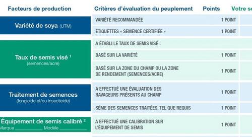 Carte de pointage pour l'établissement et l'évaluation d'un peuplement de soya