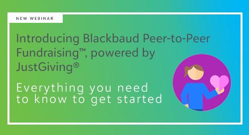 ▶️ On-Demand - Free Webinar: Introducing Blackbaud Peer-to-Peer Fundraising, powered by JustGiving