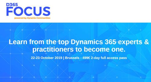 Oct 22-23 | D365 Focus EMEA @ Brussels, Belgium