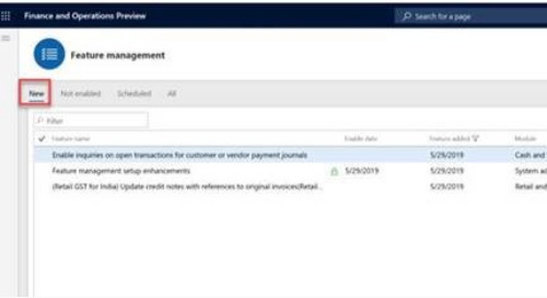 Microsoft Adds Feature Management to Dynamics 365FO