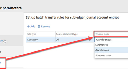 Change to GL Batch Transfer Rules in D365FO