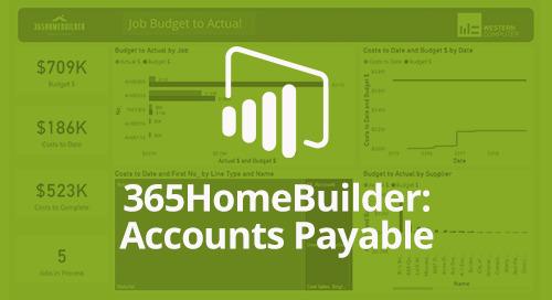 Power BI Interactive Dashboard: 365HomeBuilder Accounts Payable