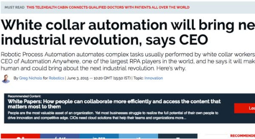 White collar automation will bring new industrial revolution, says CEO