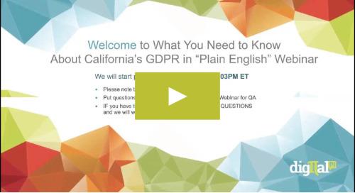 On Demand Webinar - CCPA, The New GDPR