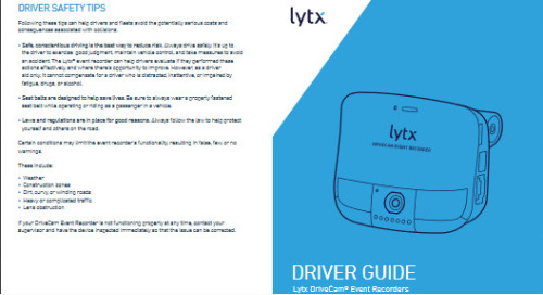 Lytx SF-Series DriveCam Event Recorder Driver Card Guide