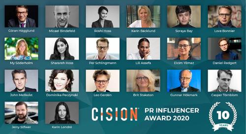 De är nominerade i topp 20 när Cision PR Influencer Award firar 10 år
