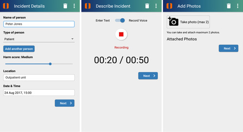 Secure reporting of patient data over mobile devices