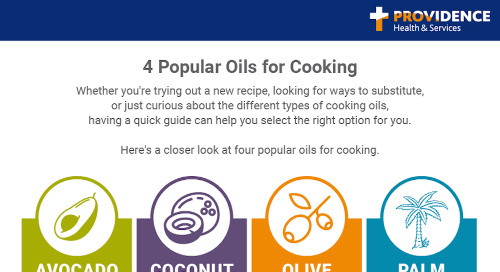 Four popular cooking oils: Avocado, coconut, olive, palm