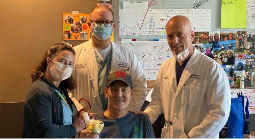 Providence patient Greg Soumokil celebrates successful total artificial heart surgery