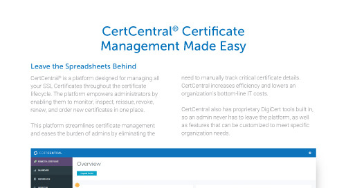 CertCentral Certificate Management Made Easy