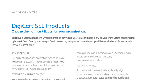 DigiCert SSL Products