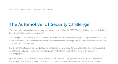 The Automotive IoT Security Challenge