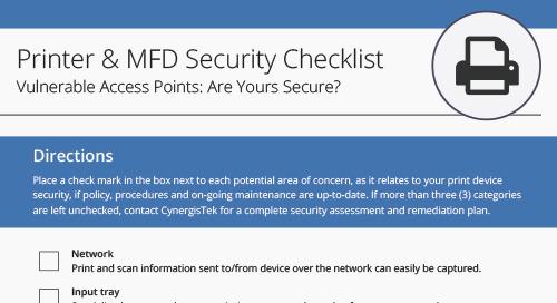 Printer & MFD Security Checklist