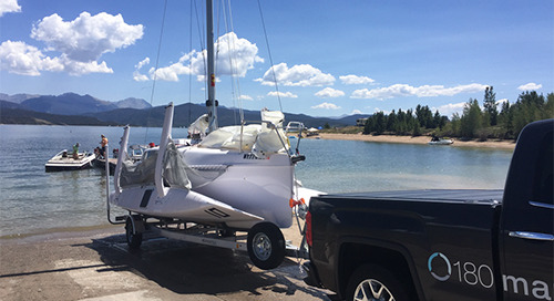 Lake Granby, Colorado is a perfect place to experience a Corsair 760 trimaran.