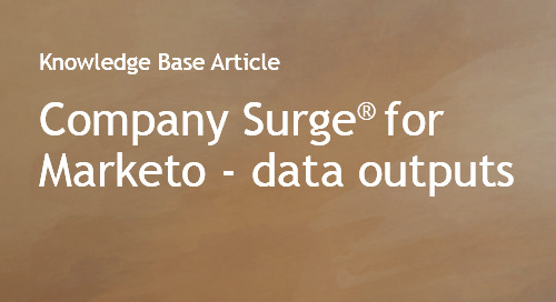 Company Surge® for Marketo Data Guides
