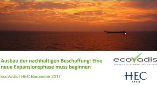 EcoVadis / HEC Barometer 2017: Ausbau der nachhaltigen Beschaffung - eine neue Expansionsphase muss beginnen