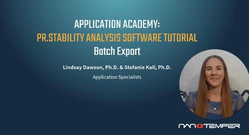 Prometheus Application Academy | PR.Stability Analysis Software Batch Export Tutorial