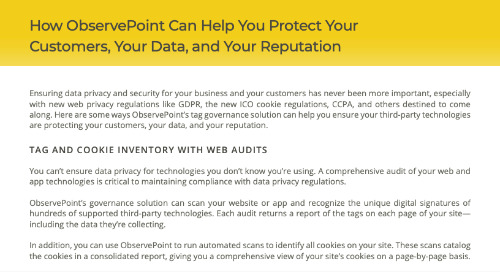 How ObservePoint Can Help You Protect Your Customers, Your Data, and Your Reputation