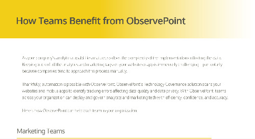 How Teams Benefit from ObservePoint