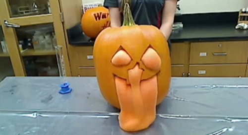 Halloween fun with chemical reactions: Jack-o-lantern tube of toothpaste demo