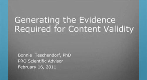Generating the Evidence Required for Content Validity