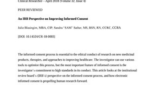 An IRB Perspective on Improving Informed Consent