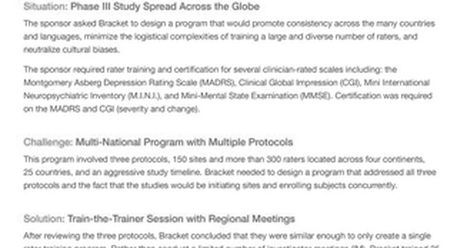 A Multi-Protocol, Global Phase III Schizophrenia Program - Rater Training Case Study
