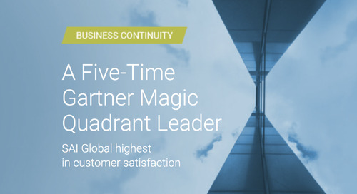 SAI Global Named a Leader in 2019 Gartner Magic Quadrant for Business Continuity Management Program Solutions, Worldwide