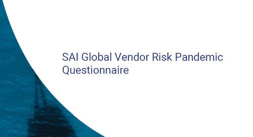 Free SAI Global Vendor Risk Pandemic Questionnaire