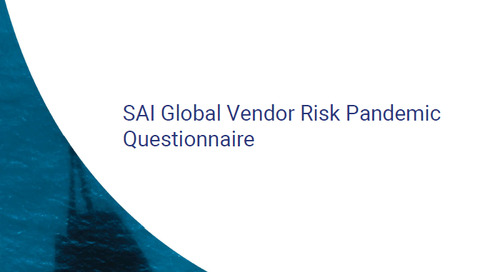 Free SAI Global Vendor Risk Pandemic Questionnaire