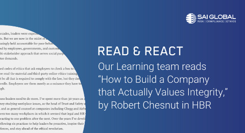 "Read & React: ""How to Build a Company that Actually Values Integrity"" by Robert Chesnut in HBR"