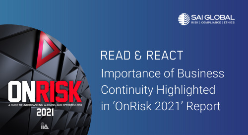 IIA's 'OnRisk' Report Assesses 2021 Risk Landscape, Highlights Importance of Business Continuity