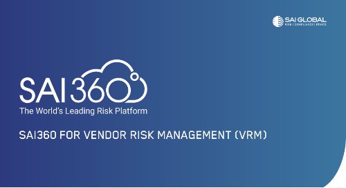 SAI360 for Vendor Risk Management (VRM) | Software Demo