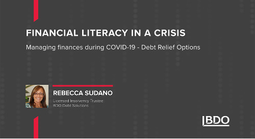 Financial Literacy in a Crisis - Managing Finances during COVID-19 (Debt Relief Options)