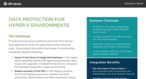 Data Protection for Hyper V Environments