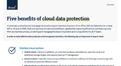 Five Benefits of Cloud Data Protection