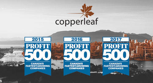 Copperleaf Makes the 2017 PROFIT 500 List of Canada's Fastest-Growing Companies for Third Consecutive Year