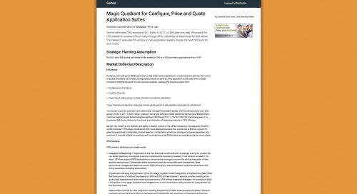 JUST RELEASED: The November 2018 Gartner Magic Quadrant for Configure, Price and Quote Application Suites