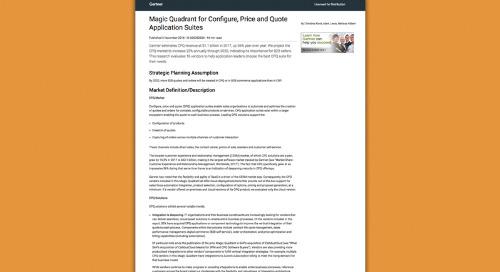 The November 2018 Gartner Magic Quadrant for Configure, Price and Quote Application Suites