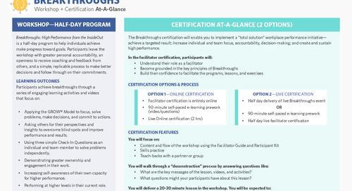 Breakthroughs Workshop + Certification at a Glance