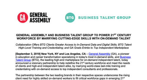 General Assembly and Business Talent Group to Power 21st Century Workforce by Marrying Cutting-Edge Skills with On-Demand Talent