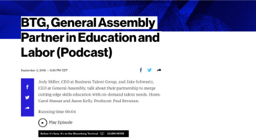 Bloomberg Business Week: BTG, General Assembly Partner in Education and Labor