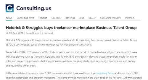 Consulting.us on Heidrick & Struggles' Acquisition of BTG
